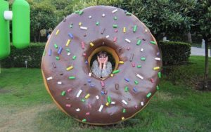 Christina in a donut at the Googleplex